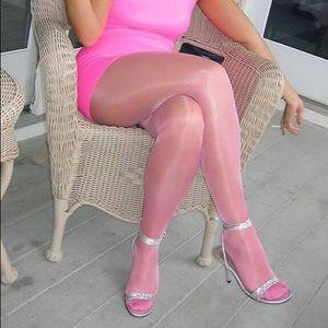 Crotchles Pink Shiny Pantyhose
